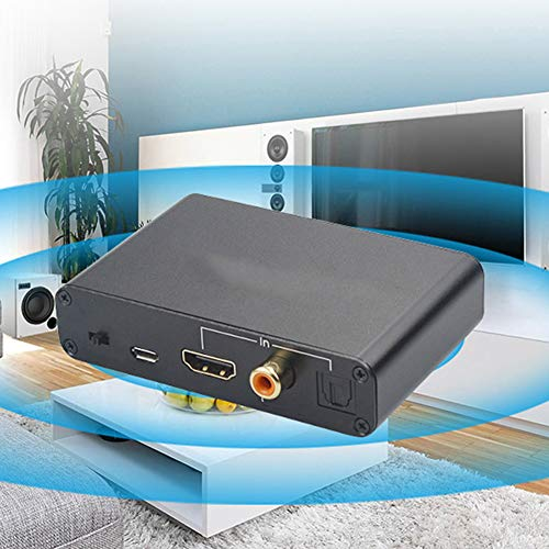 Convertidor de audio digital a analógico Convertidor DAC, Adaptador de audio HDMI DAC para fibra óptica ARC Transmisión sin pérdida de canal de sonido 5.1, Amplificador de señal DAC(Negro)