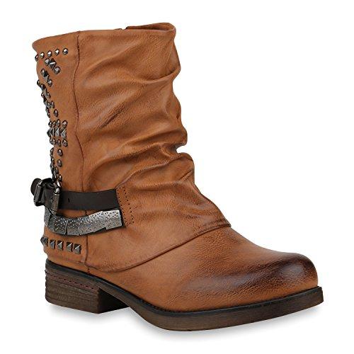 Damen Schuhe Stiefeletten Biker Boots Warm Gefütterte Stiefel 152988 Hellbraun Nieten Carlet 36 Flandell