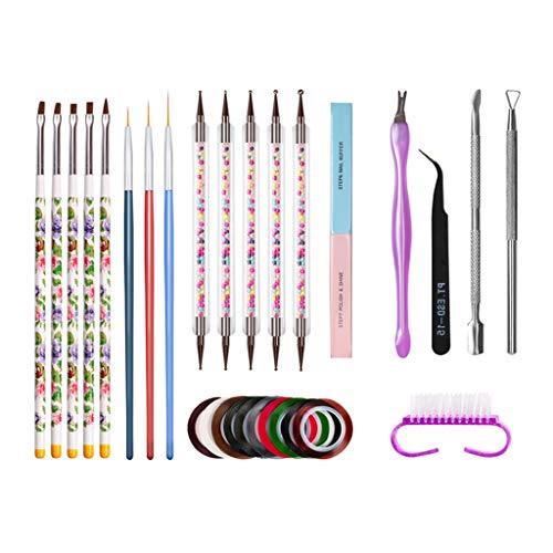 oshhni 14pcs / Kit Pinceles para Arte de Uñas Pinceles para Pintar Plumas Uñas Cajas de Uñas