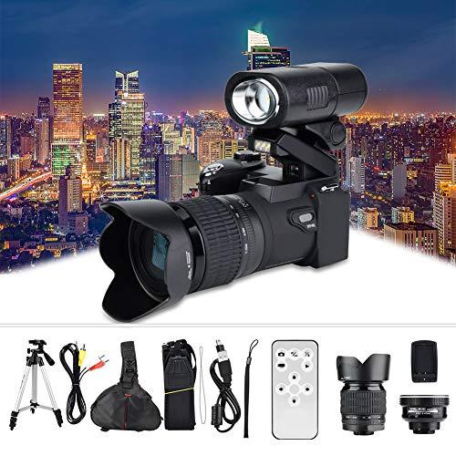 Cámara Digital, 33MP HD D7300 Control Remoto Cámara de Videocámara con Pantalla TFT de 3.0 Pulgadas con Zoom Digital 8X Video HD 1080P + Lente Gran Angular + Lente Teleobjetivo 24X + LED + Trípode