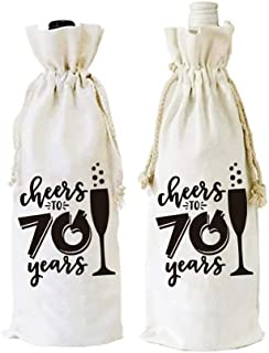 Warehouse No.9 Cheers to 70 Years Funny 70th Birthday Wine Bottle Bags Party Decorations Supplies Present for Friend, Women, Wife, Husband, Mom, Pack of 2