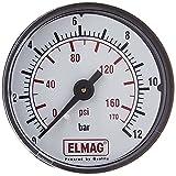 Manómetro de aire comprimido ELMAG 50 mm 0 10 bar - con rosca externa, la parte trasera de 0,32 cm, 42221