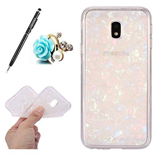 Coque Compatible avec Samsung Galaxy J7 2017 J730 Coque Transparente Glitter Paillette Mode Fille Cristal Coque Silicone Gel TPU Souple Housse Téléphone Couverture Housse Etui Coque Galaxy J7 2017,