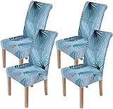 Homaxy Stretch Stuhlhussen Blumen Universal Hussen für Stuhl Esszimmer Waschbare Stuhlbezüge (4 Stück, Style 3)