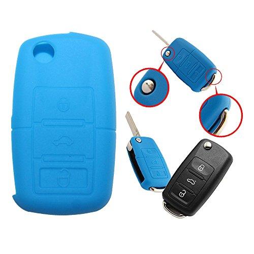 Tuqiang® 1 coque de clé pliante à 3 boutons en silicone pour VW Golf Polo Touran Passat Bleu