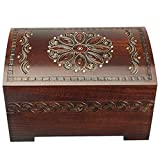 Enchanted World of Boxes Large Polish Wooden Chest Handmade Floral Jewelry Keepsake Box with Lock and Key