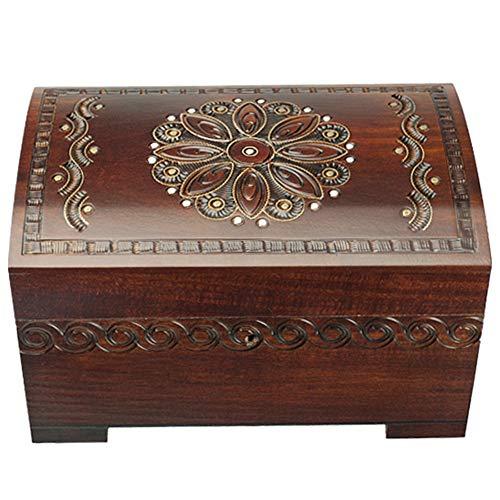 Baúl de madera hecho a mano de esmalte de grande Floral joyería...