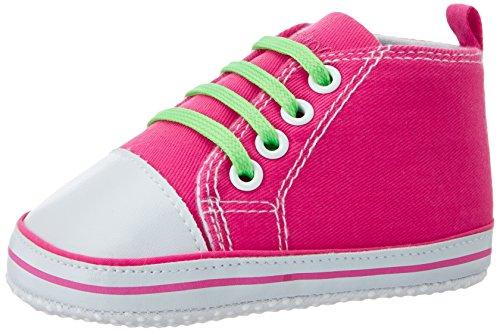 Playshoes Baby Canvas-Turnschuhe, trendiger Stoff-Sneaker mit rutschhemmenden Noppen, mit kontrastfarbenen Schnürsenkeln
