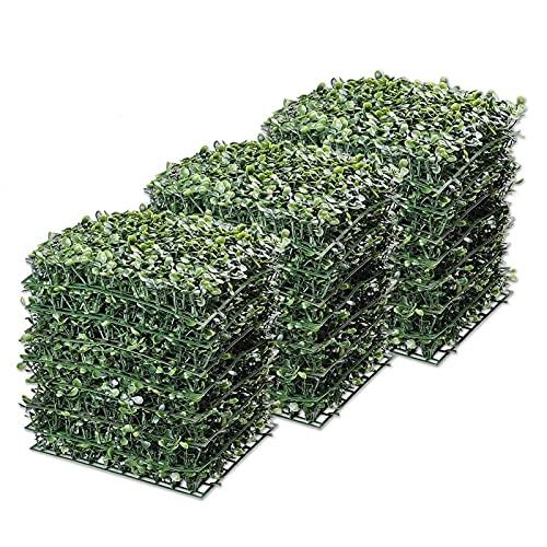 Plantas artificiales Paneles de boj artificial de 24 paquetes, tapetes de boxeo Faux, con vínculos con cable UV Privacidad Pantalla de cerca Panel de vegetación Decoración al aire libre 10 'X10' Por b