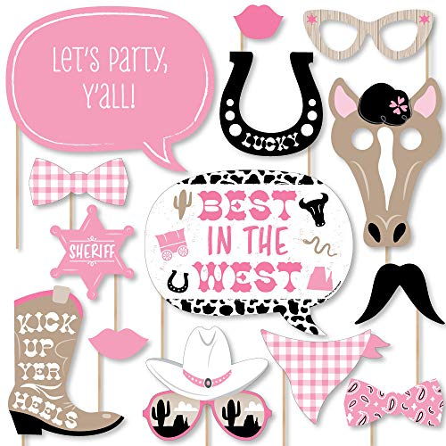 Big Dot of Happiness Little Cowgirl - Western Photo Booth Props Kit - 20 Count