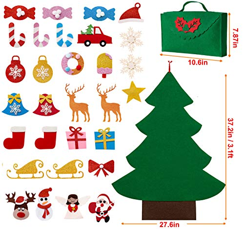 Sunolga Christmas Tree for Toddlers Kids,3ft DIY Felt Christmas Crafts Tree with 30pcs Ornaments and Hanging Rope Wall Door Christmas Decorations
