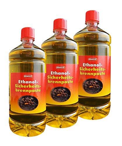 3 x Ethanol-Sicherheitsbrennpaste 1000ml, Brennpaste, Anzündpaste, Anzündgel