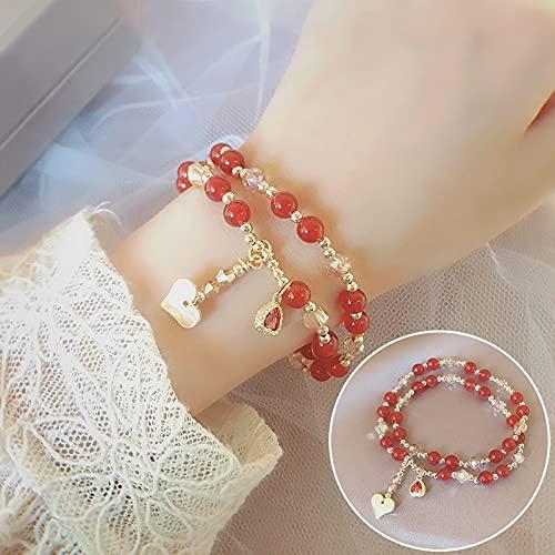 xiangwang Pulsera de cuarzo natural de doble círculo, ágata roja, cuarzo fresa, granate, cuarzo rutilado, pulseras de cuentas de cristal (color de la gema: 5 corazones ágata roja)
