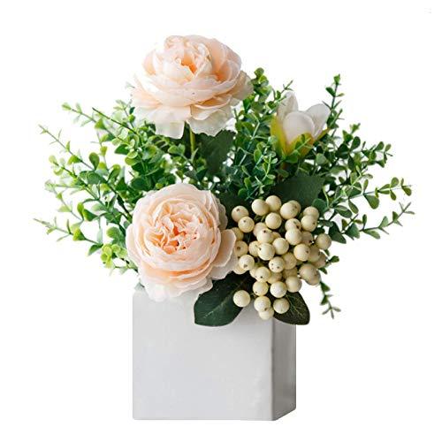 Lvjkes Künstliche Blumen zur Dekoration, Künstliche Blumen mit Vase, Exquisite Künstliche Blumen Bonsai, Seidenblumenstrauß für Haus Büro Schreibtisch Küche Hochzeit Schlafzimmer Dekoration Champagner