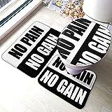 No Pain No Gain Comfort Collections - Juego de alfombrillas de baño con pedestal, alfombra de baño suave antideslizante, alfombrilla de baño de chocolate