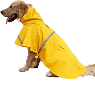 Petneces Dog Raincoat Slicker Poncho, Pet Packable Raincoat Puppy Reflective Waterproof Clothes with Hooded L