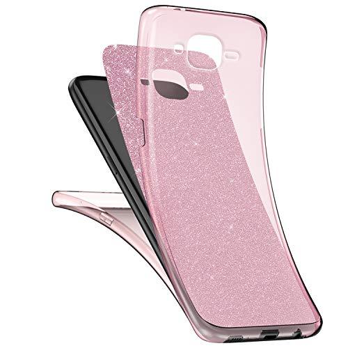 Surakey Cover Samsung Galaxy J3 2016 Integrale, Custodia Silicone Trasparente con Brillantini Glitter per Galaxy J3 2016 360 Gradi Protezione Totale Davanti e Dietro Ultra Sottile Morbida Cover, Rosa