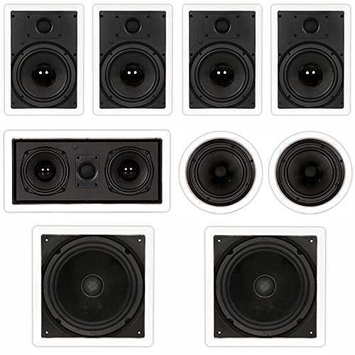 "Theater Solutions TST87 in Wall and in Ceiling 8"" Speakers 2000W Home Theater 7.2 Speaker System"