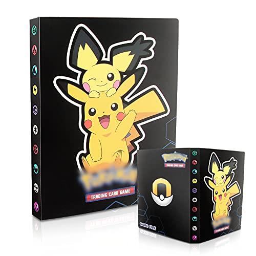 Esportic Pokemon Sammelalbum, Pokemon Karten Album, Pokemon Karten Halter, Pokemon Karten Halter Ordner Buch GX EX Trainer Sammelkartenalben,30 Seiten 240 Karten Kapazität (Dunkler Pikachu)
