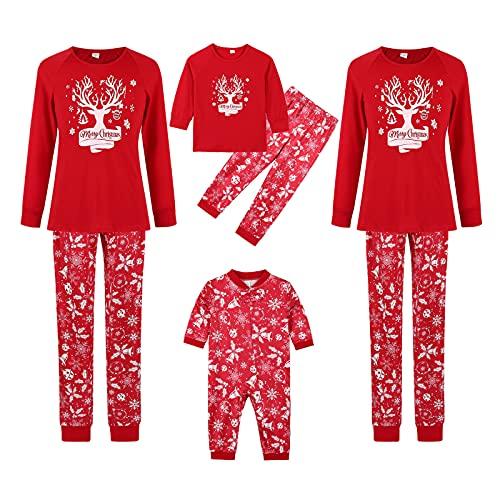 K-Youths 2PCS Ropa roja clásica de Navidad - Conjunto de Mono de Manga Larga con Estampado - Traje de Pijama de Navidad Familiar a Juego Conjunto de Lindo Disfraz de Manga Larga