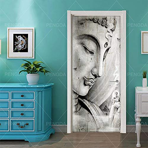 JCMTE Türtapete Selbstklebend Türposter 3D Bewirken Fototapete Türfolie Poster Tapete Schöpfung Des Buddha-Bildes 88X200Cm Abnehmbar Pe Schälen Und Stock Wandtapete Zum Wohnzimmer Küche Schlafzimmer