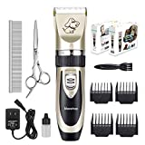 Maxshop Low Noise Rechargeable Dogs Clippers Grooming Trimming Kit Set with Long Life Battery U…