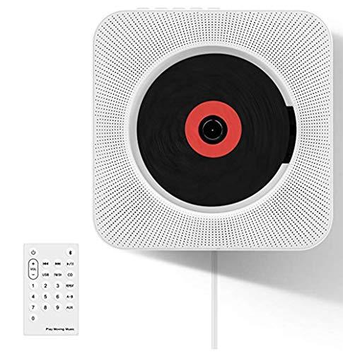 Thole Reproductor CD Bluetooth Lectores de CD portátiles de Pared con Control Remoto Altavoz HiFi USB FM Entrada AUX y Conector para Auriculares