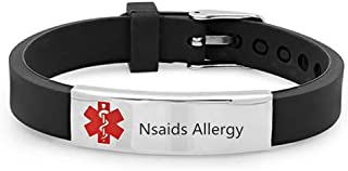Sunling Custom Adjustable Silicon Medical Alert Allergy Awareness Bracelet for Women Men Kids,Free Engraving Emergency ID ...
