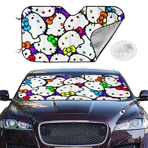 185 Protectora Parasol De Coche,Parasol para Coche Hello Kitty, Cortinas para Ventana De Vehículo Uvprotect para Vehículos Automotores De Camiones SUV,76x140cm