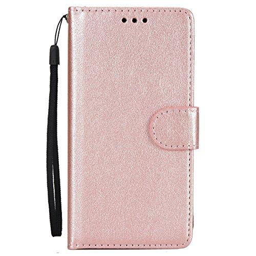 ISAKEN Custodia Galaxy A5 2016, Cover per Samsung Galaxy A5 2016 con Strap Libro PU Pelle Case Flip Portafoglio Protezione Caso con Supporto di Stand/Carte Slot/Chiusura, Oro Rosa
