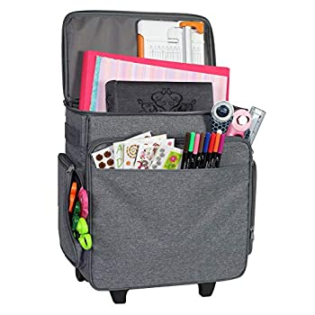 Everything Mary Rolling Craft Bag Grey Heather - Papercraft Tote with Wheels for Scrapbook & Art Storage - Organizer Case for IRIS Boxes Supplies and Accessories - for Teachers & Medical