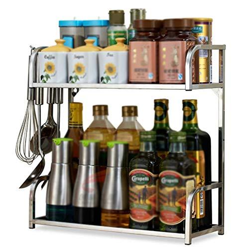 KFDQ Household Kitchen Storage Shelf,2 Layer 304 Stainless Steel Kitchen Seasoning Shelf, Wall Mountable Desktop Storage Rack, 3 Sizes,50×16×40cm