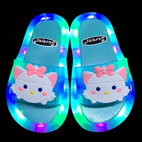 Zapatillas De Casa para Mujer Primavera,Zapatillas Luminosas Luminosas para NiñOs, NiñA De Verano Bebé Lindo Princesa Dibujos Animados Gato De Dibujos Animados Sandalias Antideslizantes, Zapatos De P