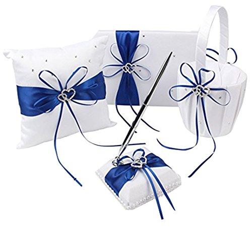 Blue Wedding Accesorries Wedding GuestBook+Pen Set+Flower Girl Basket+Ring Bearer Pillow,Decor Ribbon Bowknot Double Heart Diamante Crystal Rhinestone Buckle, Elegant Wedding Ceremony Party