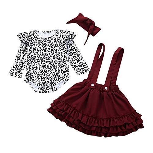 Kleinkind Baby Mädchen Leopard Drucken Strampler Bodysuit + Hosenträger Röcke + Stirnband Einstellen