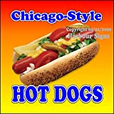 Chicago Style Hot Dogs Decal Concession Restaurant Food Truck Exterior Circle Vinyl Sticker (24'x24')