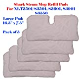 Standard Size (12.5' X 7.5') / Large Xl (16.5' X7.5') Steam Mop Replacement Pocket Pads for Euro-pro Shark S3501 S3601 S3901 S3550 Se450 (5, Large 16.5' x 7.5')