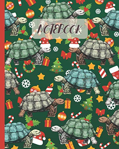 Notebook: Cute Tortoises Drawing & Christmas Party Theme - Lined Notebook, Diary, Logbook & Journal - Gift Idea for Boys Girls Teens Men Women Who Love Turtles & Tortoises (8