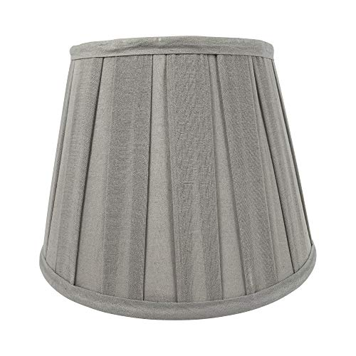 Wogati Premium Lampenschirm 25 cm x 16,5 cm x 18 cm / Grau / gefaltet / Plissee / Stoff / E14 / E27 / inkl. Adapter