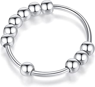 Sterling Silver Anxiety Ring with Beads Fidget Ring for Women Spinner Rings Anti Anxiety Stress Relief Ring