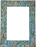 Zorigs Mirror Wall Art Décor – Handcrafted Decorative Wall Mirror, Sea Blue, Turquoise, and Opal Reflective Glass Mosaic Mirror 32' X 24' Rectangular Mirror for Hallway, Bedroom, Living Room