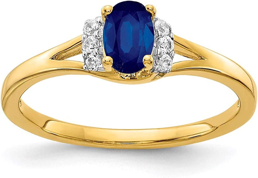 14k Yellow Gold Diamond Oval Sapphire Band Ring Size 7.00 Birthstone September Gemstone Fine Jewelry For Women Gifts For Her