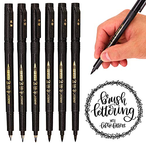 Hand Lettering Pens, Calligraphy Pens, Soft and Hard Tip, Black Ink Refillable Brush Markers Set for Beginners Writing, Sketches, Art Drawings, Water Color Illustrations, Journaling (6 Pack)