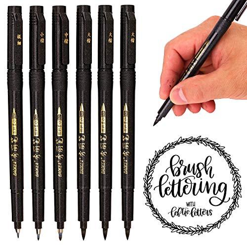 Hand Lettering Pens, 6 Pack Calligraphy Pen Refillable Brush Marker Pens for Beginners