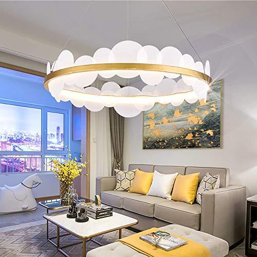 ZXJUAN Europese plafondlamp creatieve acryl kroonluchters gouden witte LED-lampen wafel Villa restaurant Art Modern minimalistisch woonkamer huis 60 * 60 * 23cm
