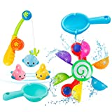 Baby Bath Toys 7 Pcs Shower Bath Baby Toy Bathtub Toy, Rainbow Waterwheel Water Game and Fishing Game for 2-5 Year Old Toddlers Kids, Fun Baby Bath Time Toy for Bathtub Swimming Pool(Colourful)