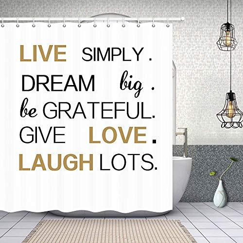 Aliyz Lustiges Zitat Live Lachen Liebesbriefe Duschvorhang mit Haken 3D Digitaldruck Inspirierend Spruch für Familie Bad Vorhang Stoff Bad Vorhang Wohnkultur 71X71in (Zitat)