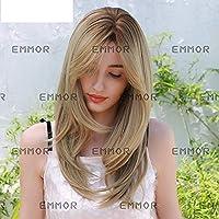 女性の化学繊維のかつら、グラデーションの金色の前髪、長いストレートの髪