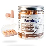 SLEERWAY Foam Ear Plugs for Sleeping Noise Cancelling 100 Pairs with Carry Case, Sound Blocking Reduction NNR 32 dB Ultra Soft Earplugs for Shooting Sleeping Snoring Travel Study and Work