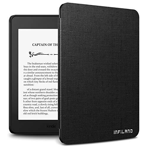 Infiland Kindle paperwhite 第10世代 ケース Kindle paperwhite カバー 薄型 超軽量 全保護スマートケース キンドル保護ケース自動スリープ (ブラック)